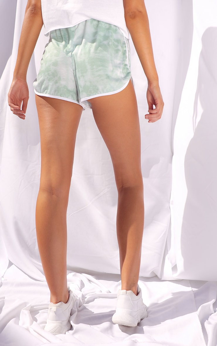 Sage Tie Dye Double Side Stripe Runner Shorts 3