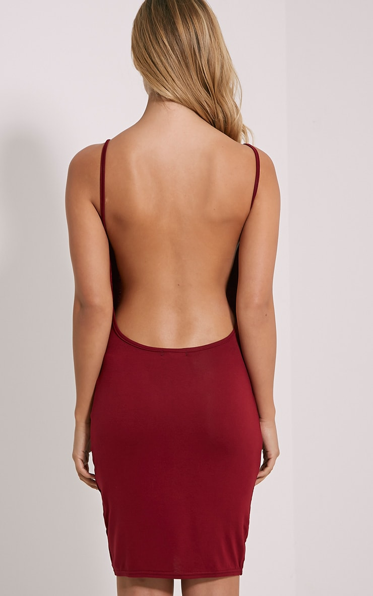 Natallia Burgundy Scoop Back Dress 2