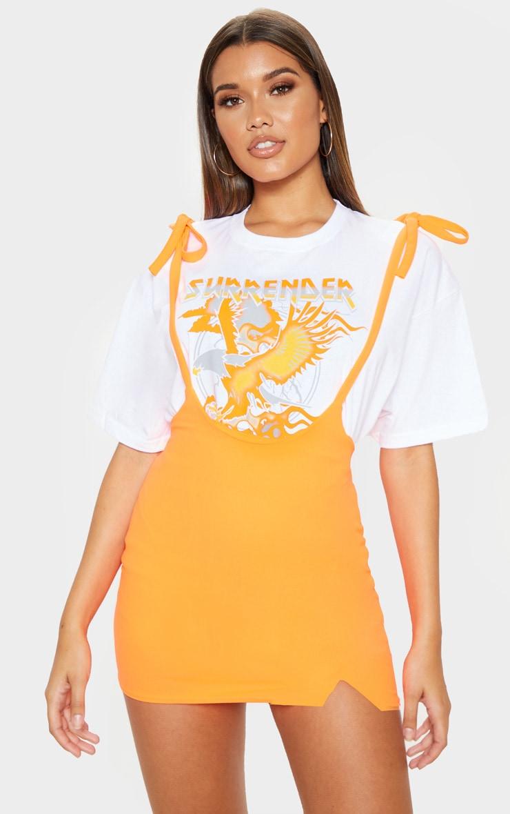 Neon Orange Dungaree Style Mini Skirt 1
