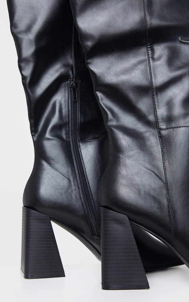 Black PU Flare Block Heel Square Toe Over Knee Boots 3