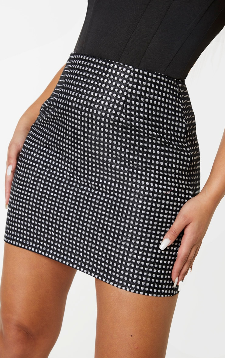 Black Woven Glitter Detail Mini Skirt 5