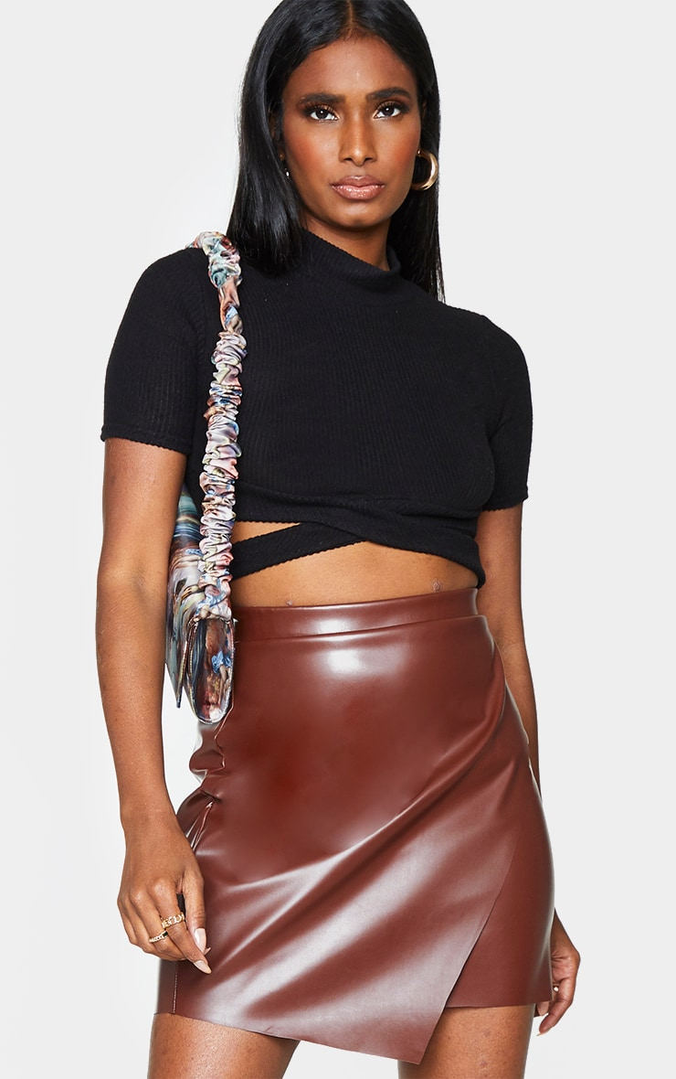 Chocolate Faux Leather Wrap Mini Skirt 4
