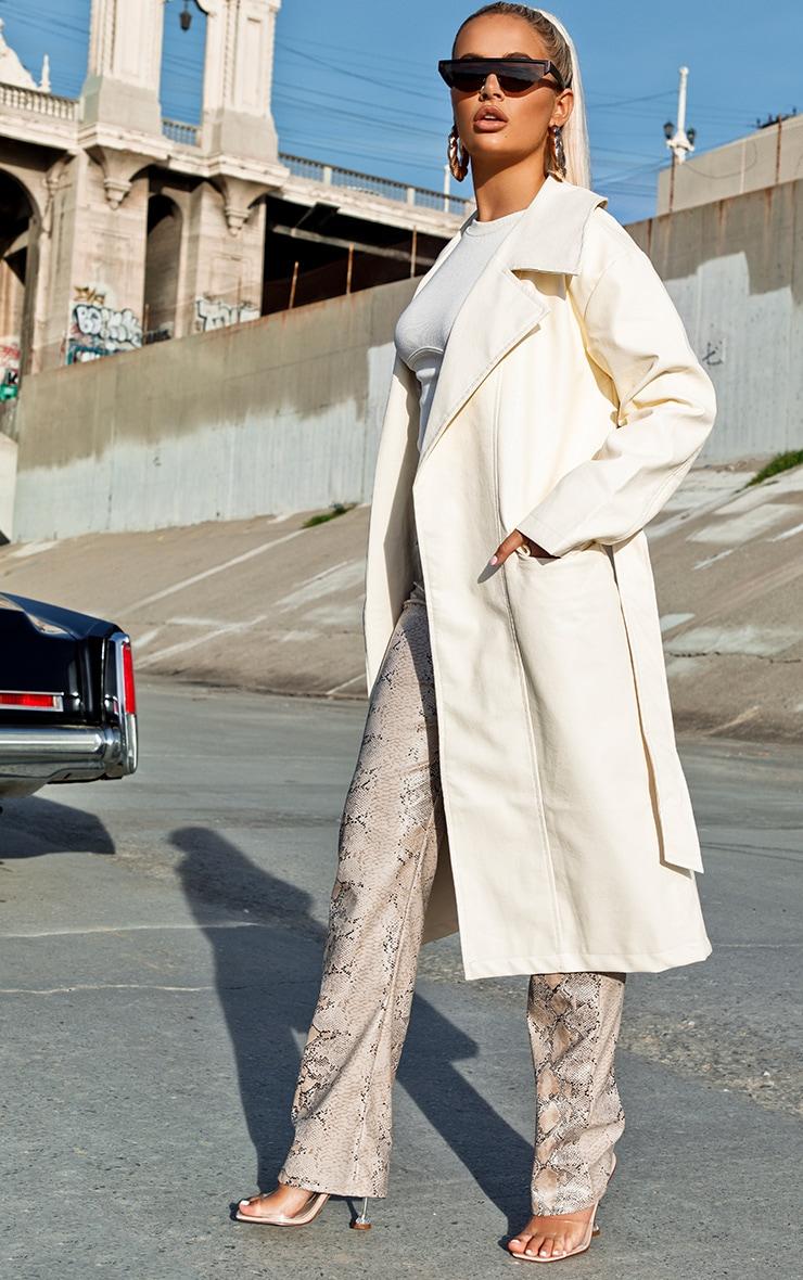 Cream Faux Leather Oversized Midi Trench Coat 3