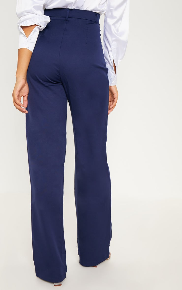 Tall Navy High Waist Wide Leg Trousers 4