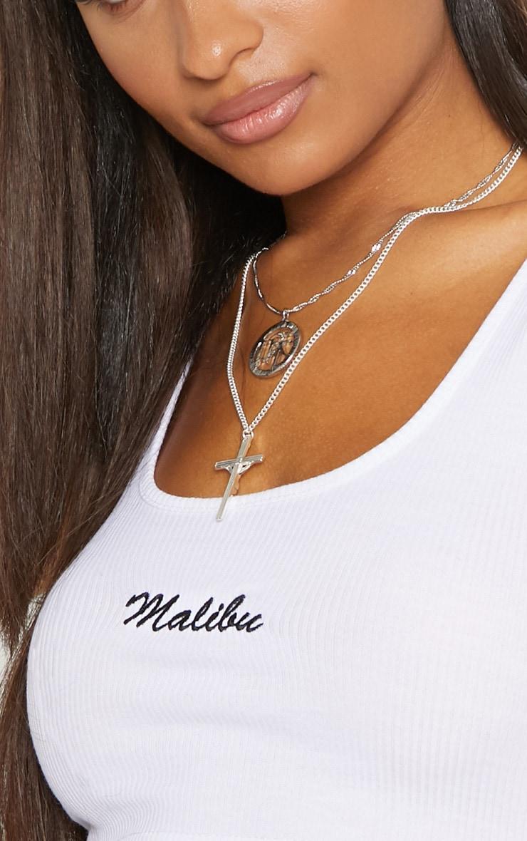 White Malibu Slogan Rib Crop Vest 5