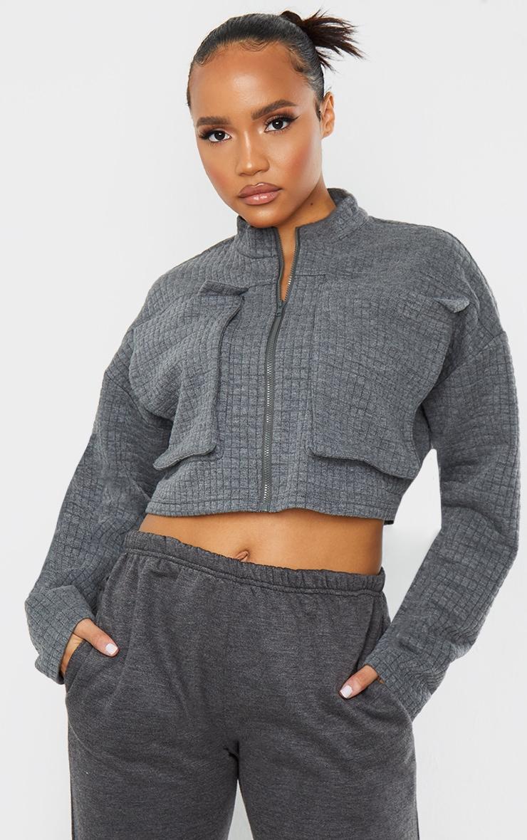 Grey Quilted Oversized Pocket Zip Up Sweatshirt 1