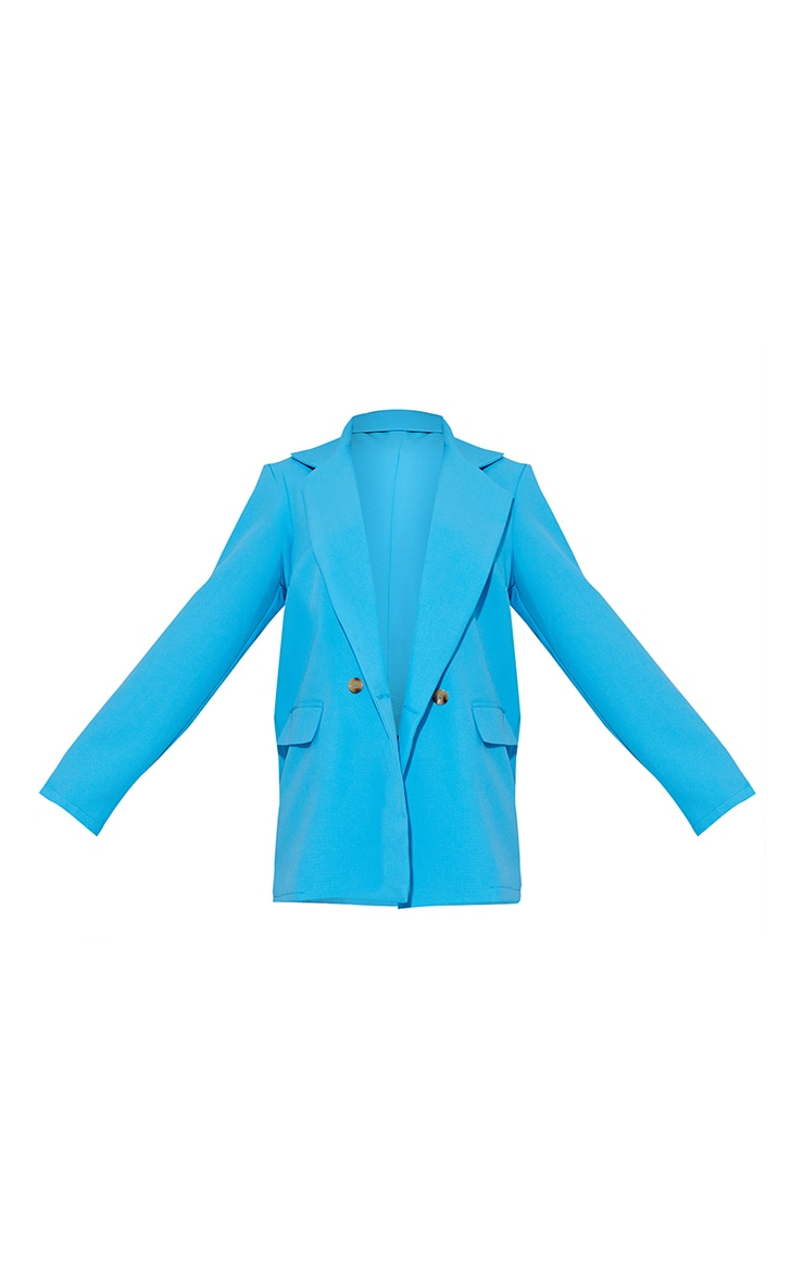 Bright Blue Shoulder Padded Double Breasted Blazer 5