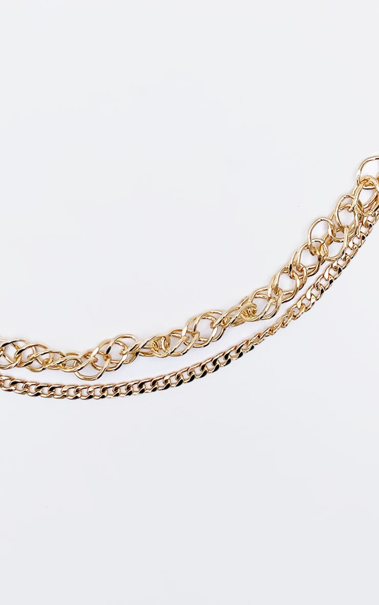 Gold Mixed Assorted Two Layering Chain Necklace 4