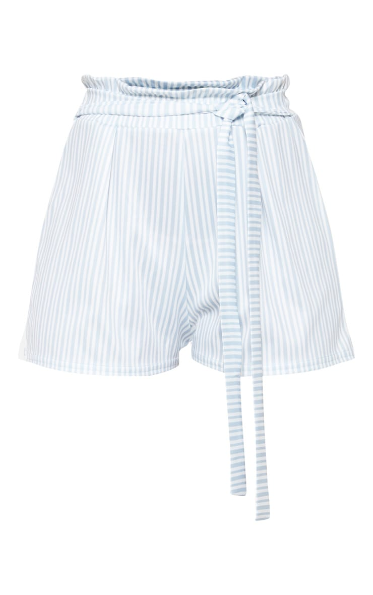 Dusty Blue Stripe Ruched Tie Waist Short 3