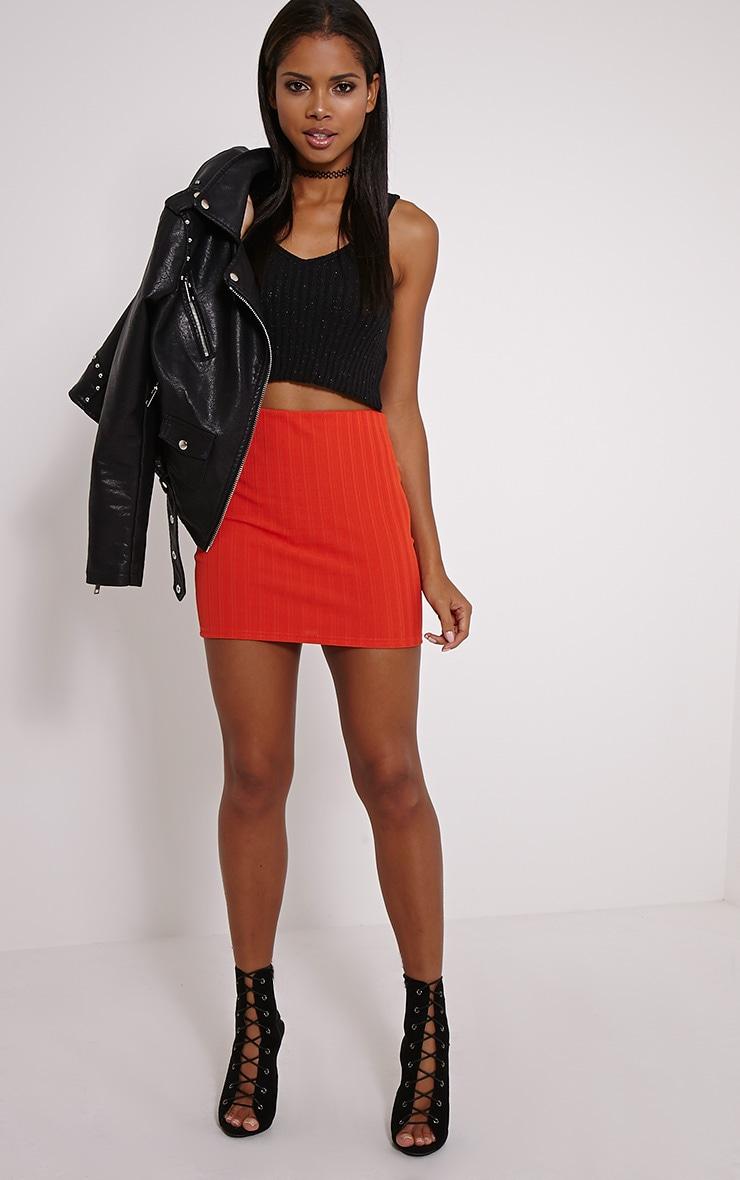Martina Orange Ribbed Mini Skirt 5