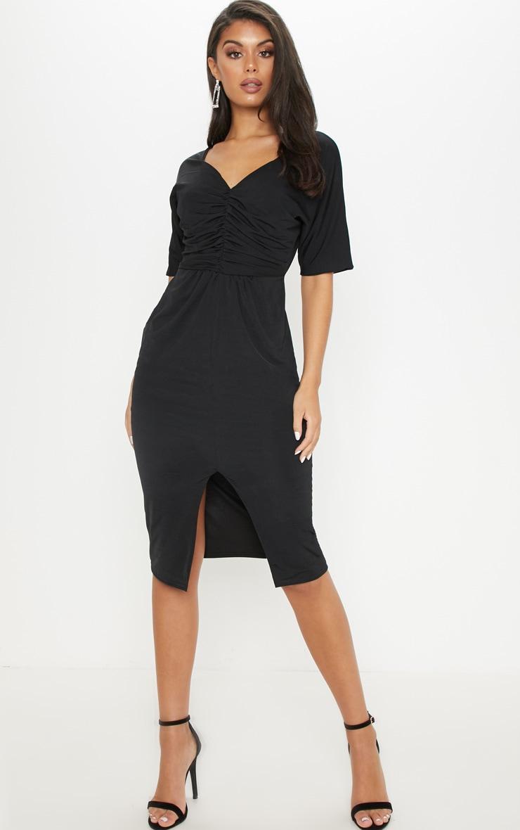 black slinky ruched top batwing midi dress