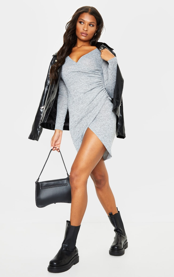 Grey Ruched Wrap Detail Bodycon Dress 1