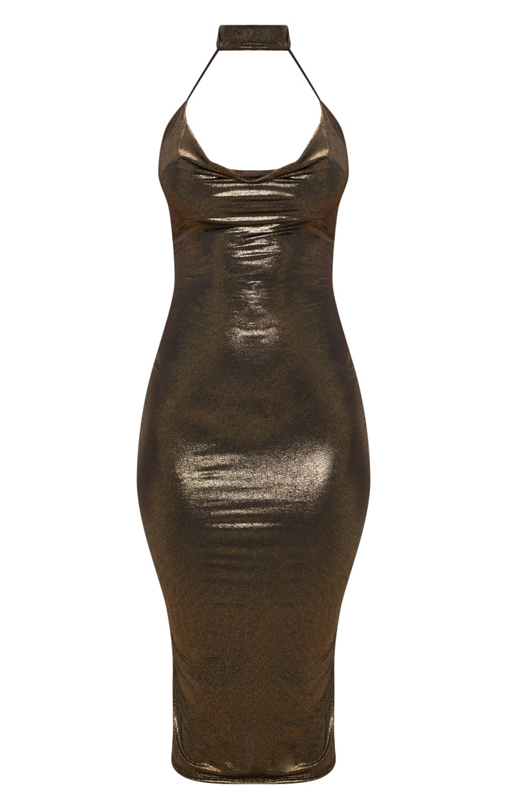 Gold Choker Detail Cowl Neck Metallic Midi Dress 3