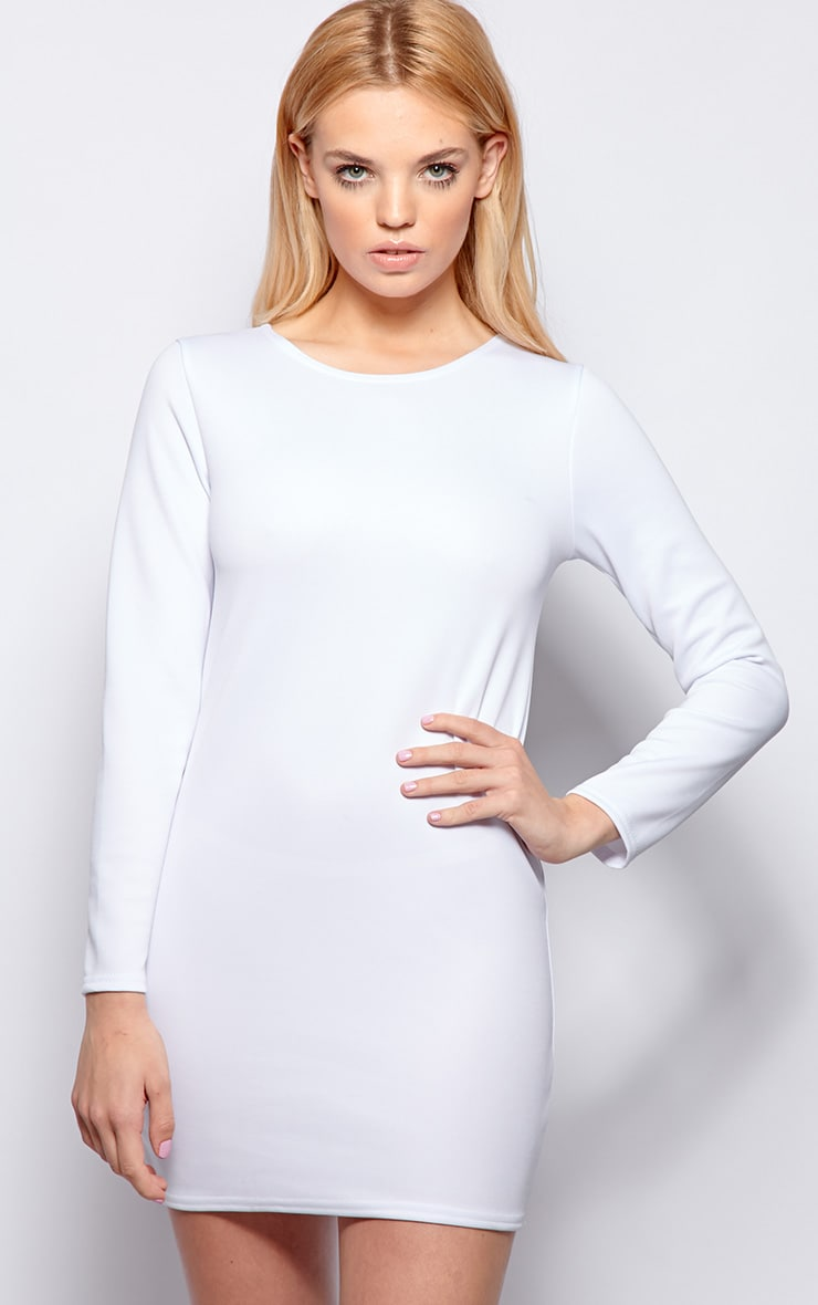 Zelda White Long Sleeved Scuba Dress 6