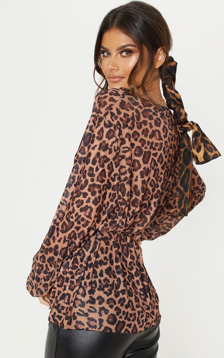Tan Leopard Printed Mesh Wrap Detail Kimono Top 2