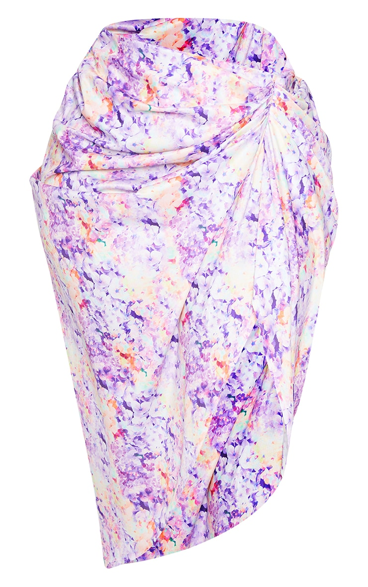 Plus Lilac Ruched Side Midi Skirt 5