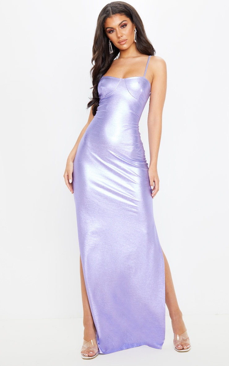 Lilac Metallic Strappy Maxi Dress 1