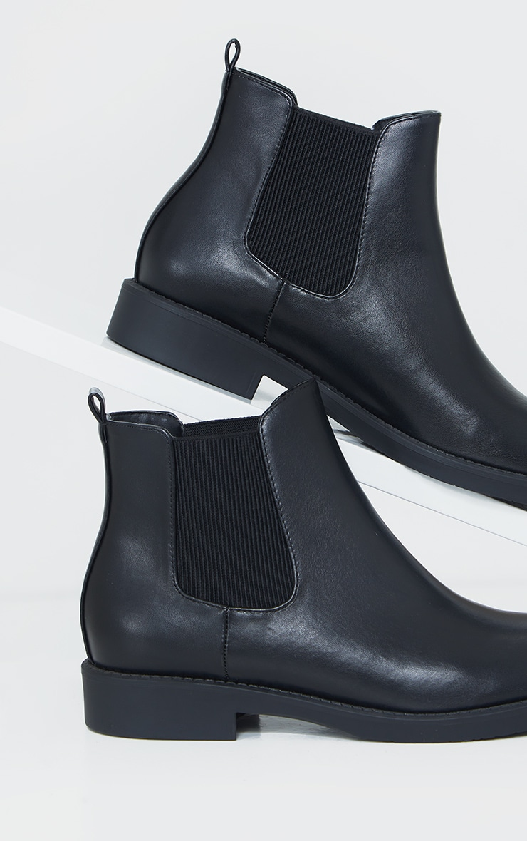 Black Faux Leather Basic Chelsea Ankle Boots 4