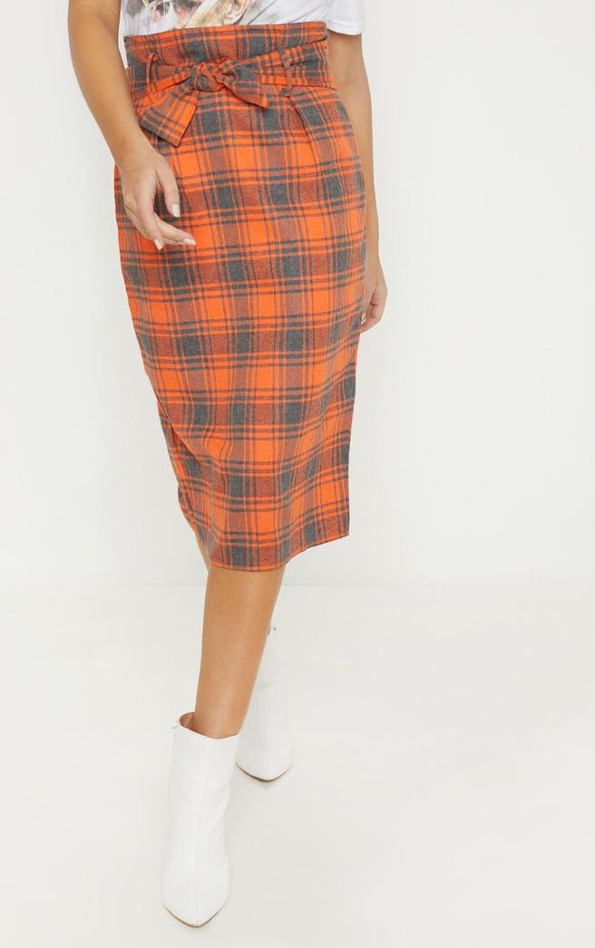 Orange Check High Waisted Midi Skirt 2