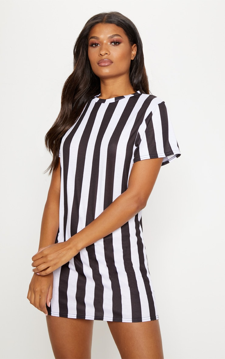 Basic Monochrome Short Sleeve T Shirt Dress 1