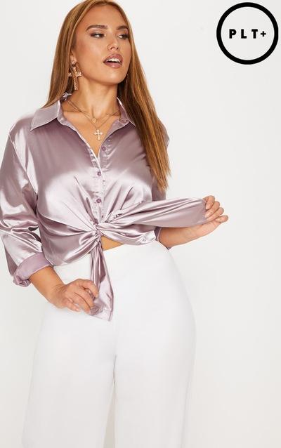 2a8ef60048 Plus Mink Satin Button Front Shirt