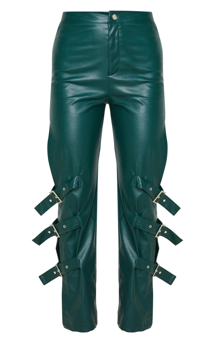 Emerald Faux Leather Buckle Strap Detail Pants 3
