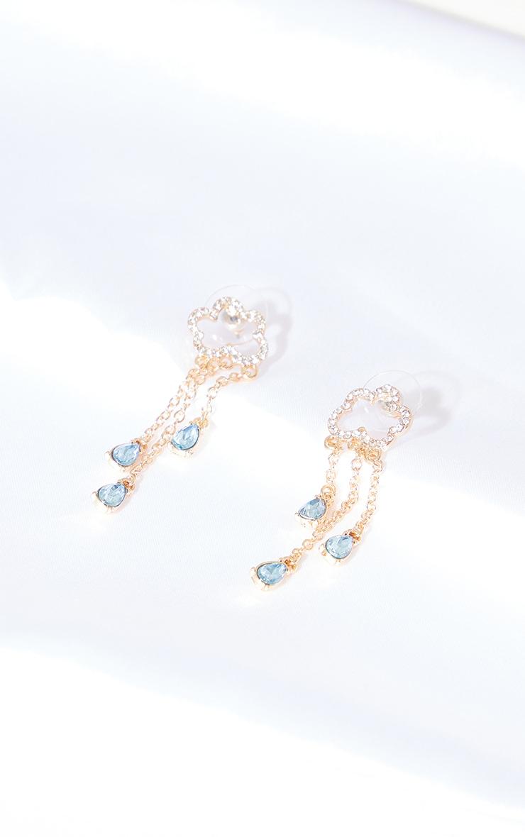 Gold Diamante Cloud Tassel Earrings 1