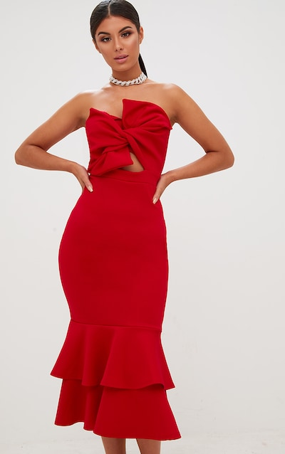 Red Scuba Bow Detail Frill Hem Midi Dress