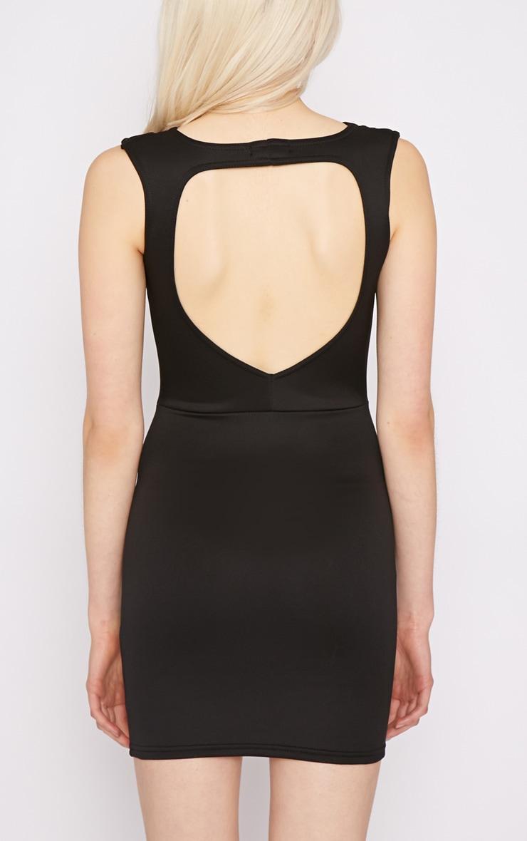 Adeline Black V Front Structured Dress 3