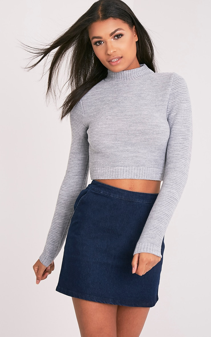 Grey Ribbed Cropped Knitted Jumper