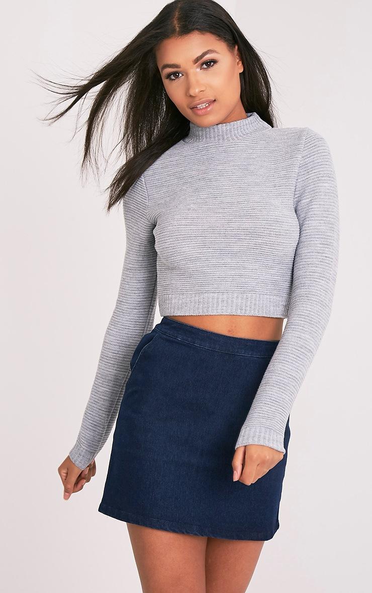 Pull court en tricot gris côtelé 1