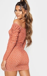Recycled Terracotta Polka Dot Print Ruched Front Long Sleeve Bodycon Dress 2