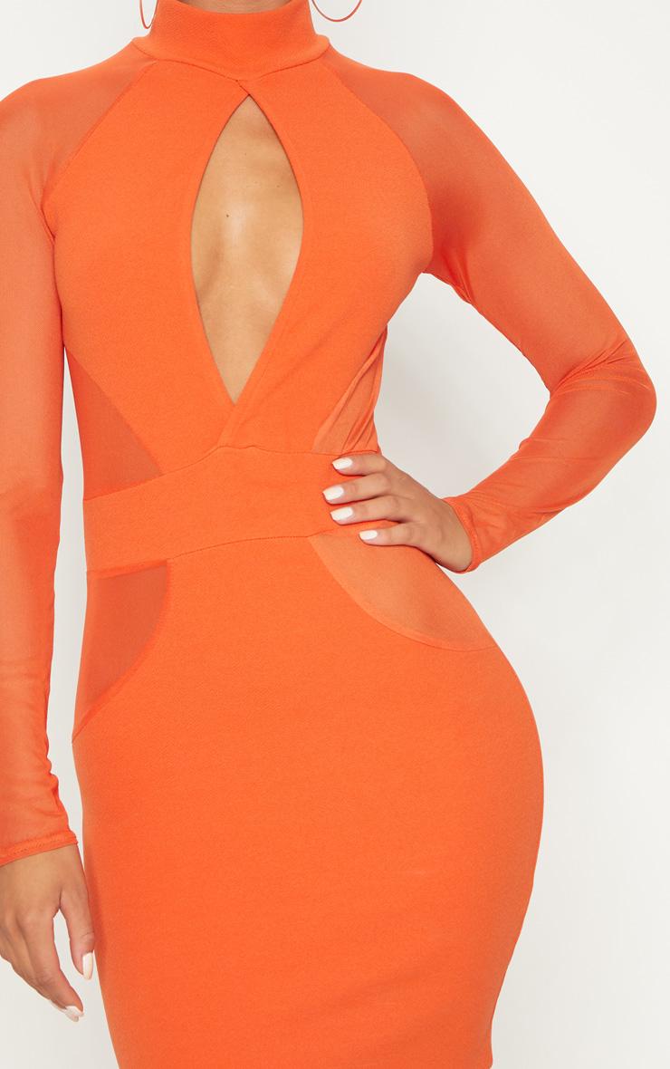 Bright Orange High Neck Keyhole Mesh Insert Bodycon Dress 5