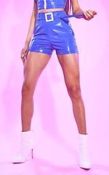 Blue Vinyl Belted Waist Shorts 2