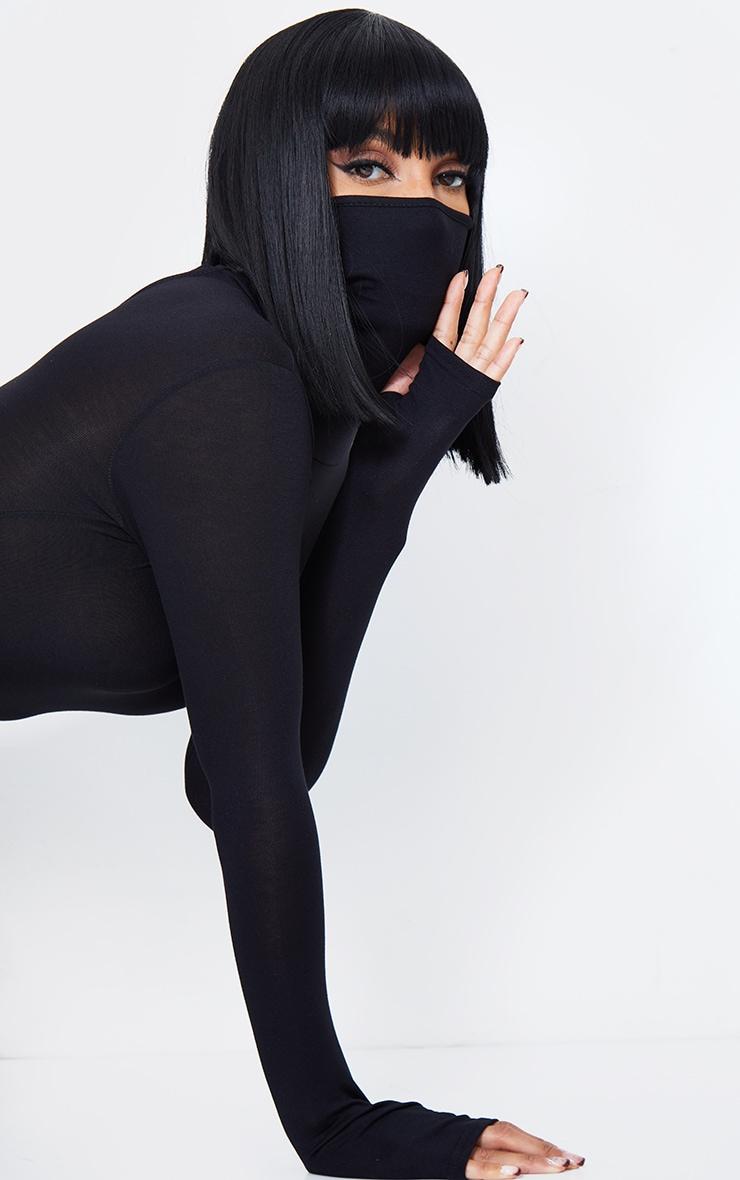 Black Long Sleeve Mask Jumpsuit 5