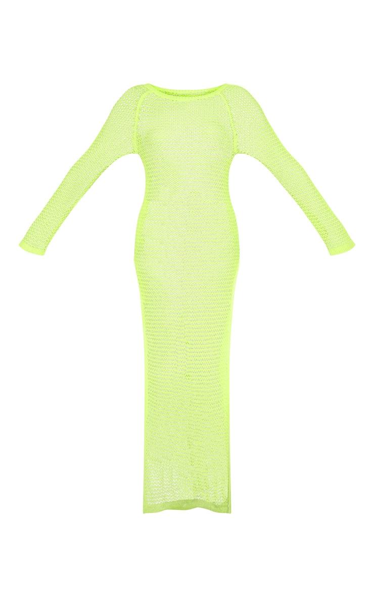 Neon Lime Crochet Maxi Dress  3