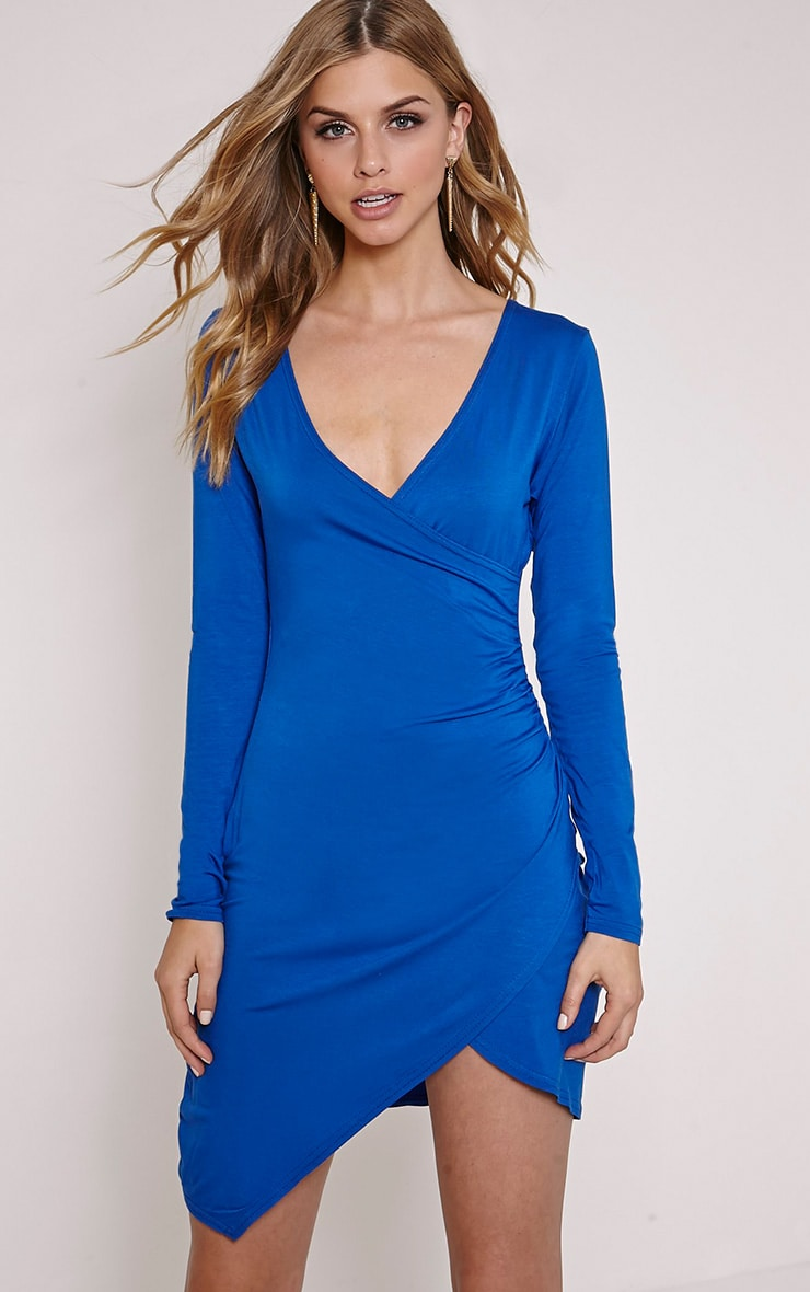 Kendi Cobalt Wrap Mini Dress 1