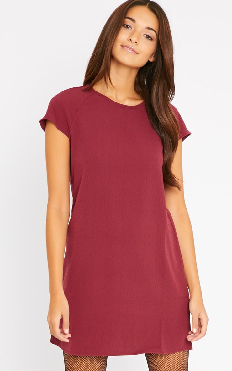 Sabra Berry Waffle Loose Fit Shift Dress 1