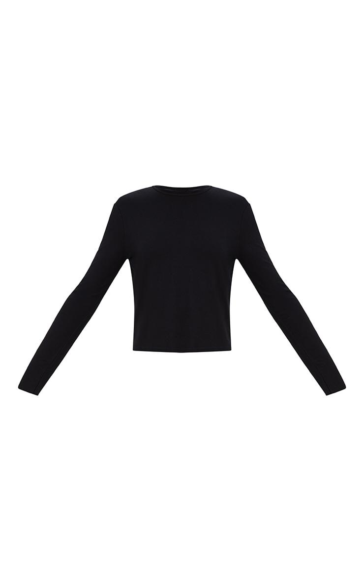 Black Jersey Long Sleeve Open Back Detail T Shirt 3