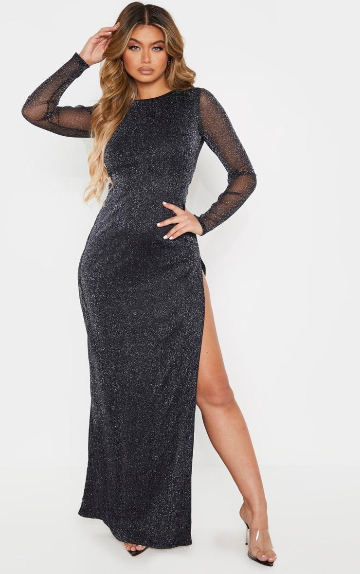 Black Glitter Backless Long Sleeve Maxi Dress 4