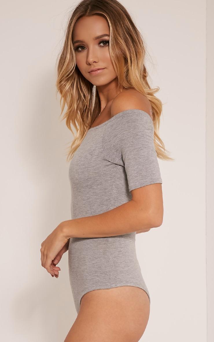 Basic Grey Bardot Short Sleeve Thong Bodysuit 4