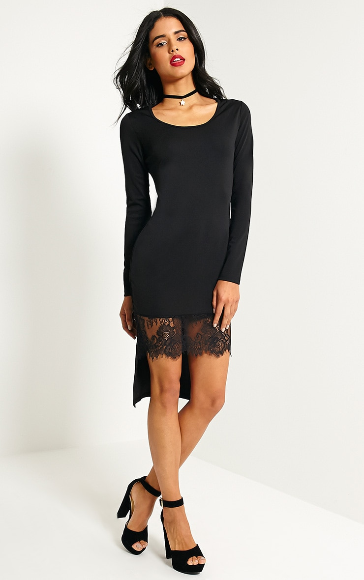 Quin Black Lace Drop Hem Dress 1