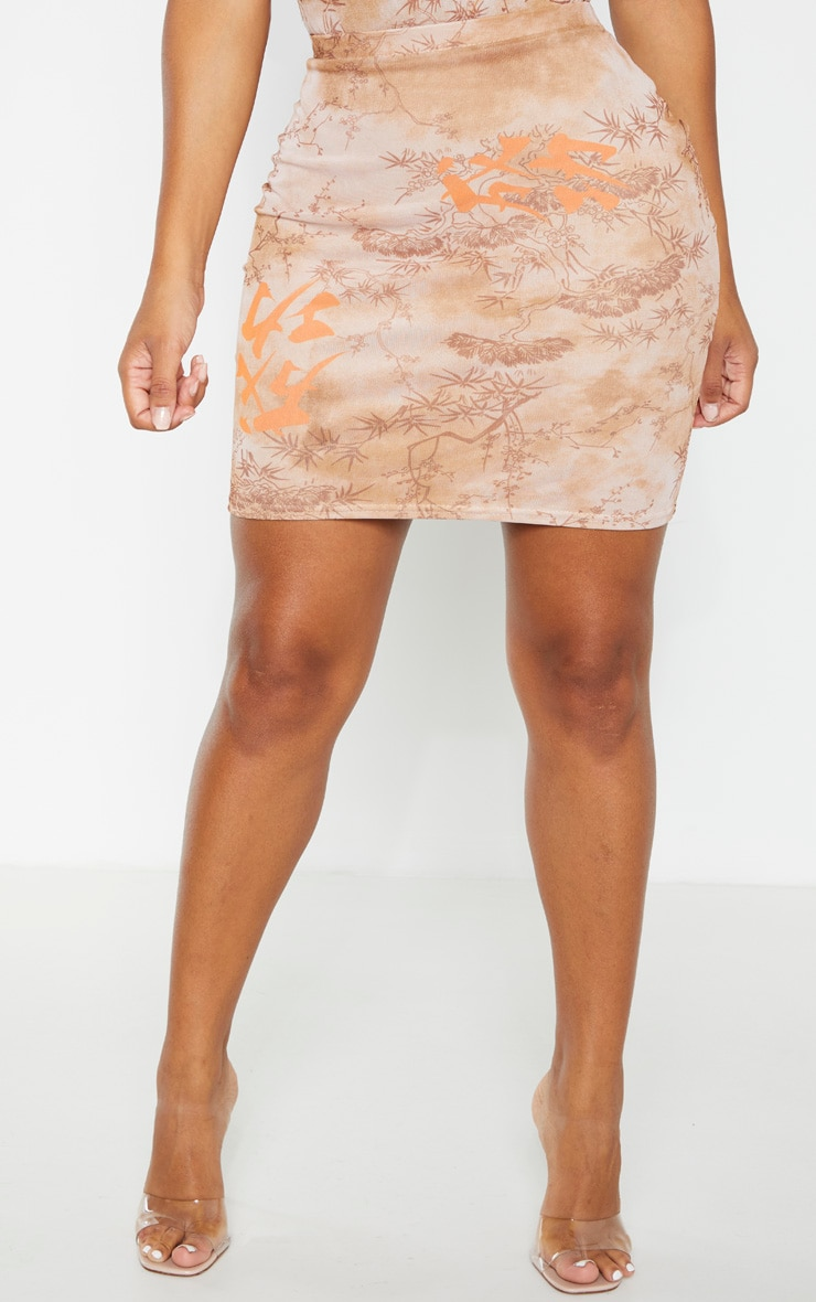 Shape Nude Oriental Print Bodycon Skirt 2