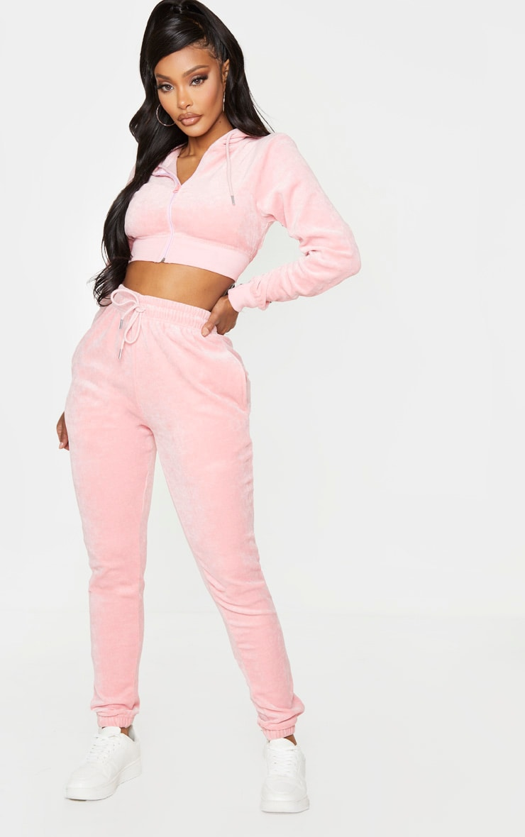 PRETTYLITTLETHING Shape Dusty Pink Velour Extreme Crop Sweater 3
