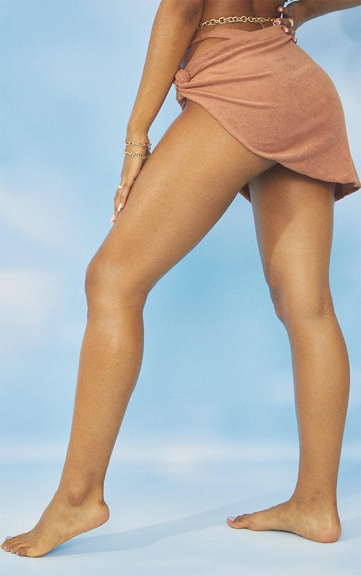 Brown Towel Frill Edge Twist Front Beach Skirt 3