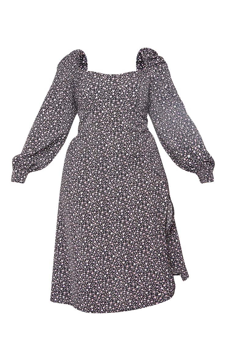 Plus Black Ditsy Floral Puff Sleeve Midi Dress 5