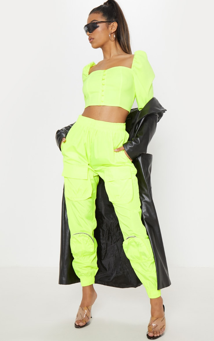 Neon Lime Shell 3D Pocket Detail Jogger 1