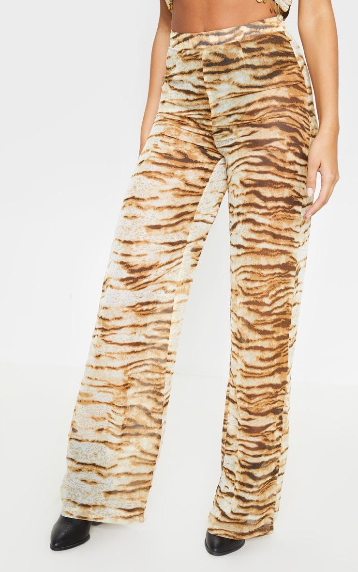 Tan Chiffon Tiger Print High Waisted Wide Leg Trouser 2