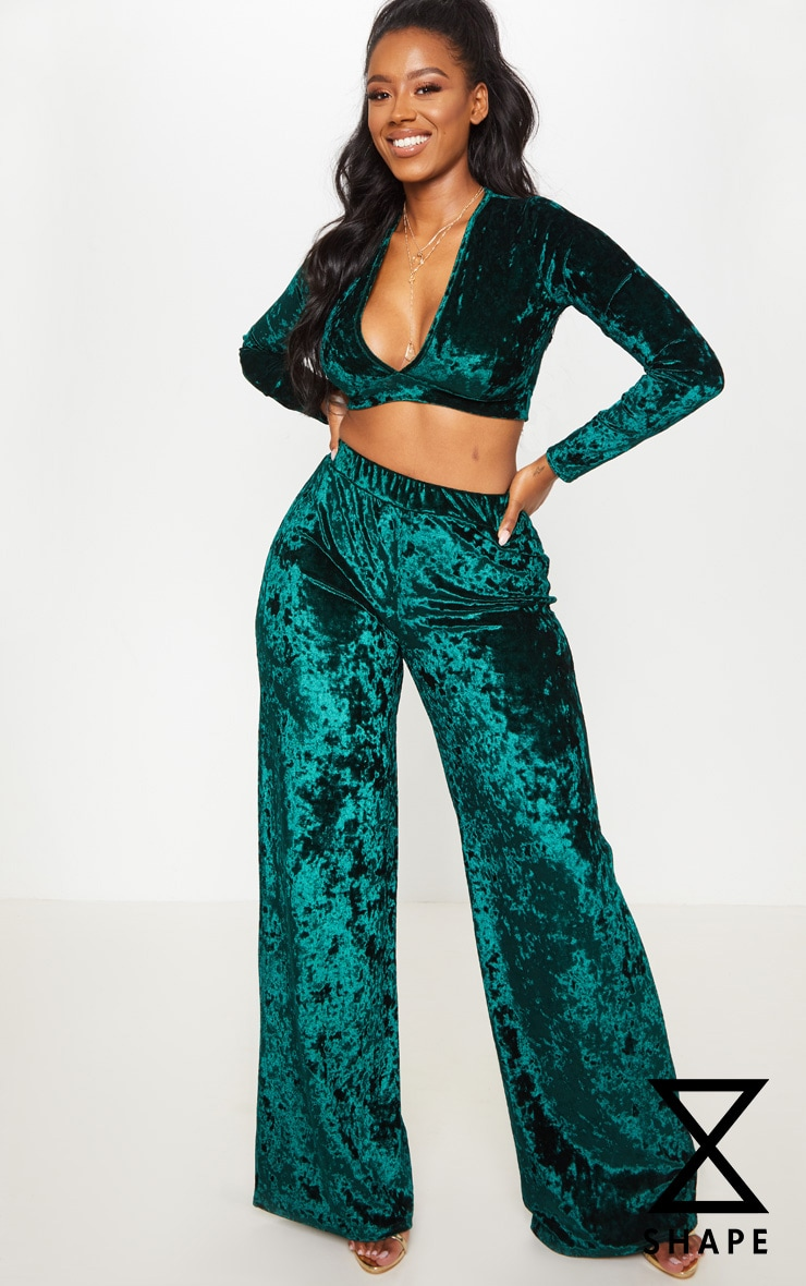 Shape Emerald Green Crushed Velvet Wide Leg Trouser