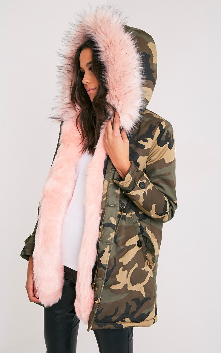 Fliss Baby Pink Camo Faux Fur Lined Parka 4